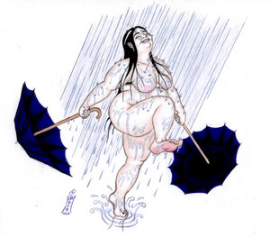 Fat woman in the rain