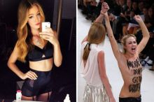 Fashion model punches Femen protester